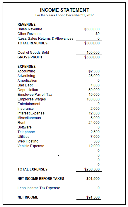 Sample Income Statement | Free Income Statement Template – Basic ...