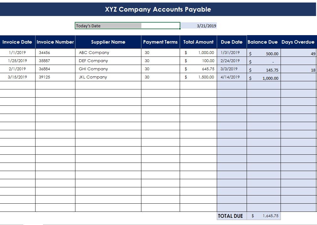 Accounts Payable Excel Spreadsheet
